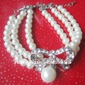 fashion imitation pearl beaded bracelet with alloy rhinestone bowknot
