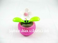 Newest electric diamond design car solar swinging flower