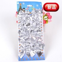 NEW! Free shipping 2011 new arrival wholesale 50packs / lot (12pcs in each pack) christmas tree hanging bowknot(silver)