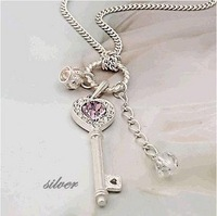 Free shipping women crystal necklace/fashion jewelry sets/lovely key shape woollen sweater necklace