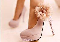 Free Shipping 2013  Woman high heels sexy ladies shoes women fashion pumps Flower Heels White  Size 40 KU3