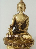 Rare Distinctive Old Qing Dynasty copper medicine Buddha Statue,best collection&adornment ,Free shipping