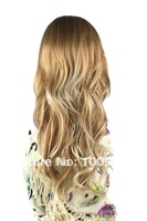 HW0003 Free Shipping 1PCS/Lot Blond Color 63CM Length Curly No  Bang Carney Carron Long Women Lace Synthetic Fashion Hair Wig