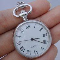 10pcs/lot Vintage Silver Roman numerals Antique Quartz Pendant Pocket Watch Necklace Gift Free Ship
