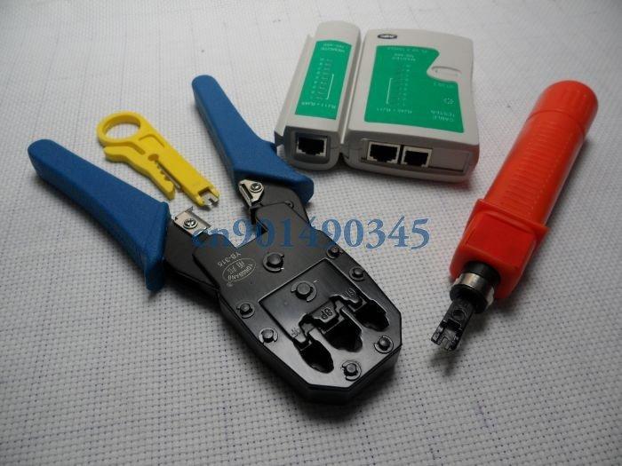 Free Shipping NETWORK TOOL KIT CABLE TESTER CRIMP LAN RJ45 RJ11 CAT5(China (Mainland))