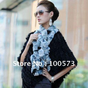 Retail fashion winter rabbit fur scarf made by hand