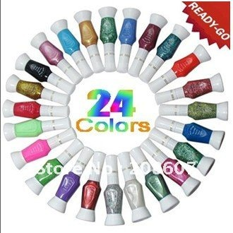 Free Shipping 2011 New 24Color Nail Art 2-Way Pen Brush Varnish Polish Paint