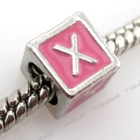 $5 off per $100 order, 30pcs English Alphabet Pink  Enamel Square Charmilia Bead  Alloy Charms Beads Carved Letter X 150880