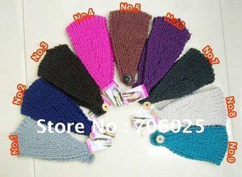 EMS Free shipping Handmade Knit Crochet Wide Headband Flower plain color headband for womens/hairbands/headdress/headwear