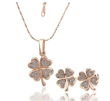 18KS004 18K Gold Plated Four Leaf Clover Necklace Earring Wedding Sets Nickel Free Golden Austrian Crystal SWA Element