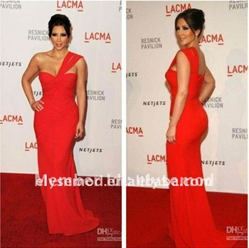 $15 off per $150 order kim kardashian Lacma Gala Georges Hobeika Sheath/Column One-Shoulder Ruched Chiffon Celebrity Dresse