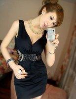 Женское платье Sexy Letters Printting Backless Vest Cheap Lady Tank Dress+ 1Pcs/Lot