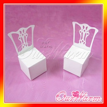 Free Shipping 50 Pieces White Chair Wedding Party Gift Favor Boxes Supplies