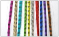 2000 pcs Freeshipping 16 inch long, Grizzly Synthetic Feather Hair Extension vivid color+ 2000 pcs beads