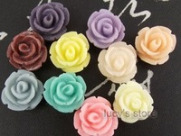 free shipping High -quality resin flowers, hand-DIY Jewelry accessories, cabbage rose hair accessory  10Colors