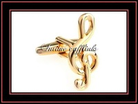 free shipping novelty gold plated musical note casting cuff links