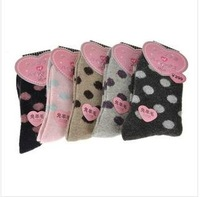 Free  wholesale high quality wool socks dot lady sox female sox fall and winter female socks