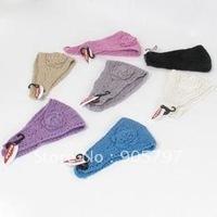 100% cotton handmade knit headbands summer crochet flower head wrap 50pcs MOQ mix color