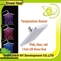 Pink, blue, red 3-color Temperature Sensor Square LED Shower Head, Bathroom Sprinkler, freeshipping dropshipping