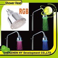Temperature Sensor 3 Color LED Light Shower Head Sprinkler, Green, blue, red 3 color, freeshipping dropshipping