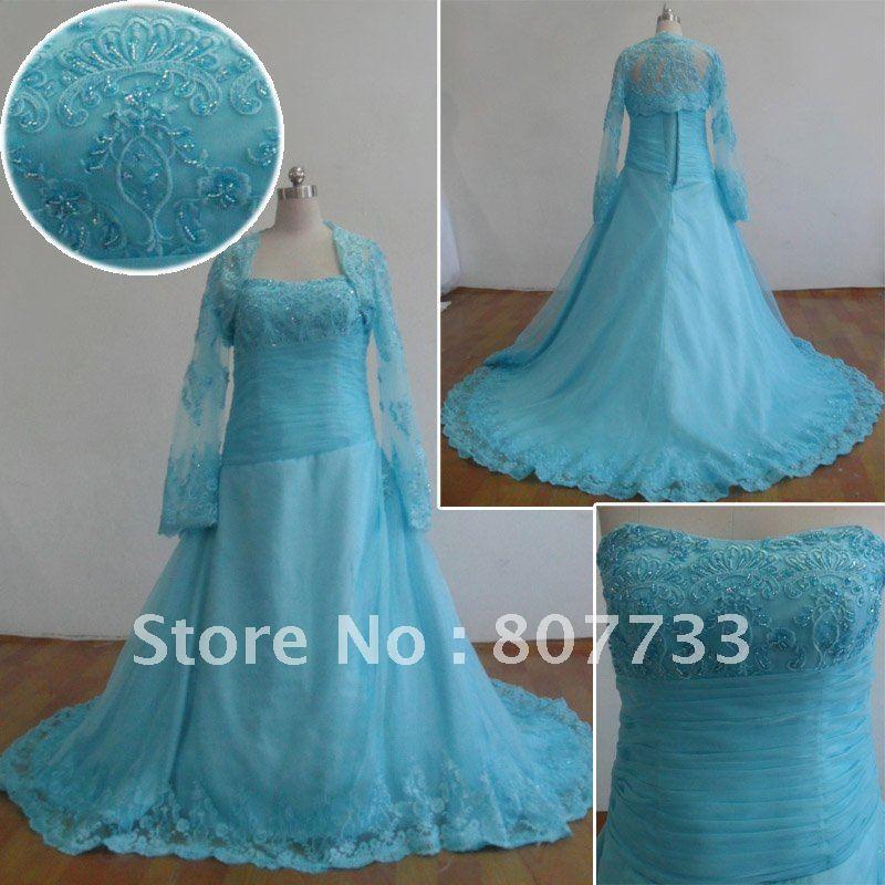 Popular Long Sleeve Wedding Dress with Blue Aliexpress