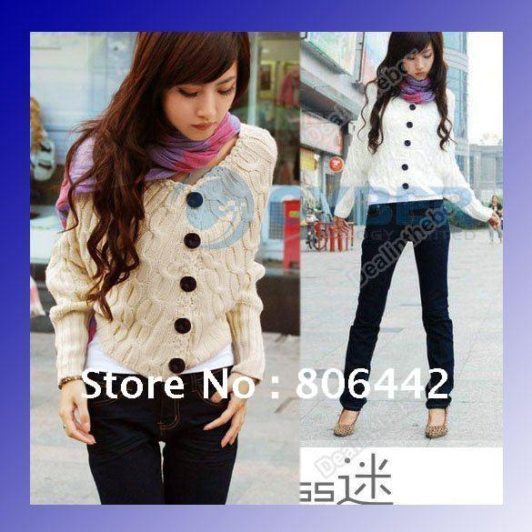Женский кардиган New Korea Women's Fashion Knitting cardigan Sweater Batwing long sleeve 4 Colors size