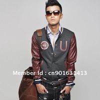 Men's jacket baseball jacket European and American fashion so cool 2colors 2pcs/lot