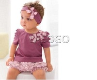 Wholesale - New Arriving AMISSA (pink butterfly beadband+top+lace pants )3pcs Baby Clothing Set Baby Clothes