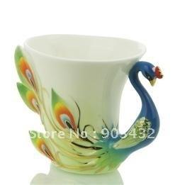 LeXiang Porcelain Enamel Peacock Coffee Cup Set