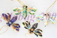 Free Shipping! Christmas gifts WHOLESALE 6PCS CLOISONNE BEE DECORATION christmas hang