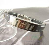 20pcs/lot Free shipping ,Classic Personality, Cross Heart-shaped Silica Gel Bracelet, The Man Titanium Steel Bracelet (A2261)