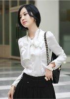 Free shipping! 3 colored chiffon shirt New Korean Fashion, Office Style, Long sleeved Women Cotton Shirt Lady OL Blouse, bow,