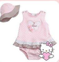 New girls 2pcs sets girls skirt + hat,Size: 70/80/90/95 pink 8set,baby romper,baby wear,lovely,hello kitty