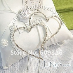 1 pieces Monogram Silver Diamante Heart Wedding Cake Topper h03 - FREE SHIPPING(Hong Kong)