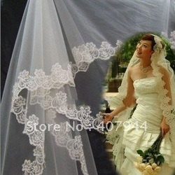 Free shipping !1.5 metres lace wedding veil/bridal veil,wedding accessories/head veil(China (Mainland))