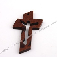 Wholesale - 120pcs New Wooden Charms Pendants Beads Cross Pandent Fit Chains Christmas Decoration 47mm 140736