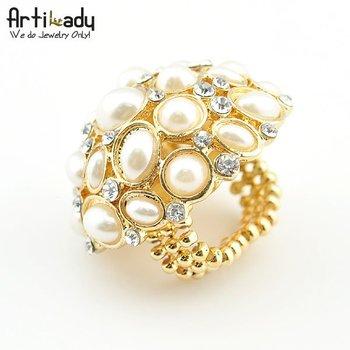 Artilady CR111114010  gold pearl ring engagement  ring  valentine's gift  brithday gift new arrivre