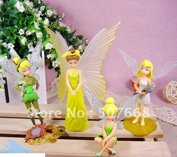 Free shipping EMS High Quality PVC Latest 4 pcs Tinkerbell Fairy Figure NEW