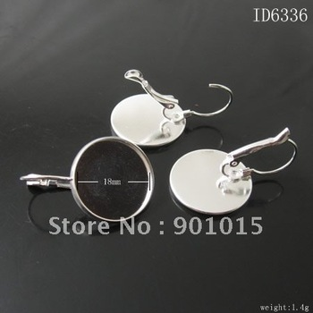 Brass Hook Earwire,silver color,Donut,25mm Long,Base Diameter:18mm,Nicekl Free ,Lead Safe,ID6336