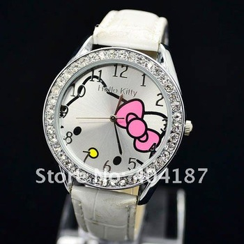 Free Shipping 100pcs/lot Fashion Crystal HelloKitty Girl Ladies Quartz Leather WristWatch Watch Kid Gift 3colors
