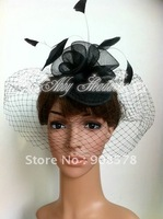 Black Vintage Bridal Hat with Bird Cage Face Veil TH008