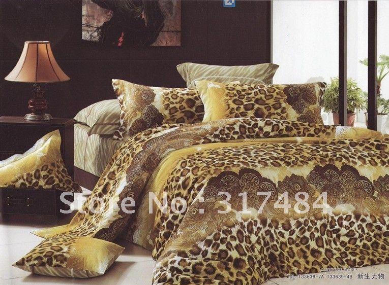 Hot beautiful 4pc 100 cotton comforter duvet doona cover set queen bedding set 4pcs leopard - Cheetah print queen comforter set ...