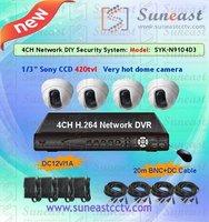 "Free shipping 1/3"" sony ccd 420tvl SYK-N9104D3 dvr system 4 channel surveillance alarm system"