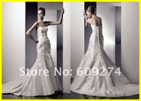 2012 Wholesale Mermaid Strapless Organza Applique Elegant Wedding Dresses Bridal Dress