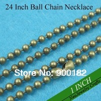 24 inch 2.4mm Antique Bronze Ball Chain Necklaces, 60cm Antique Bronze Bead Chain Necklace