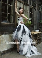 Free shipping 2012 new style! strapless black and white front short and long back wedding gown/wedding dress 2012