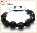 SBL02 wholesale black shamballa crystal ball bracelet tresor paris christmas decoration