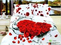 Hot Beautiful 4PC 100% COTTON COMFORTER DUVET DOONA COVER SET QUEEN / bedding set 4pcs Red Rose Heart