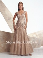 Custom 2012 Affordable Off The Shoulder V neck Tulle Applique Mother Of Bride Dresses A line Formal Mother Outfits