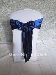 Free shipping! 100 pcs Deep Blue satin wedding chair sashes/wedding party chair bows